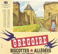 Buvard Biscottes Gregoire Les Remparts Et Le Chemin De Ronde De Carcassonne - Biscottes