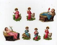 Petite CHROMO Découpis Gaufrée Enfant Jésus Ange Auréole Mouton Couronne De Lauriers Bébé Lit Foin (7 Petites Chromos) - Anges