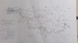 RARE CARTE XIXE CHEMIN DE FER PARIS A DIJON MELUN- CORBEIL-VILLENEUVE ST GEORGES- CHOISY LE ROI-ALFORT-CHATILLON-EVRY- - Maps