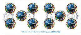 Bande Carnet Adhésifs Non Pliée 17 Avec Belle Oblitération - Coupe Du Monde De Football - 1/4 De Cote - France
