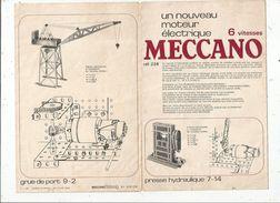 Manuel D'instruction Du Nouveau Moteur électrique, MECCANO  , 8 Pages , 2 Scans   , Frais Fr : 1.55 Euros - Meccano