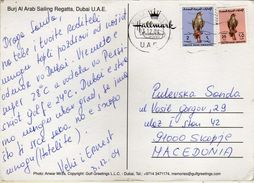 United Arab Emirates Dubai Postcard. Via Macedonia.nice Stamps -birds Falcons - Emirats Arabes Unis