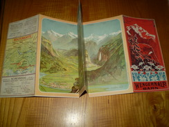 1904 Plan & Horaires Wengernalp Bahn, Jungfrau,Interlaken,Grindelwald,Lauterbrunnen.....Routenkarte - Europe