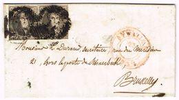 L Datée De Sprimont Affr N°6 En Paire P11 AYWAILLE/1854 Pur Bruxeles. - 1851-1857 Médaillons (6/8)