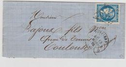 Timbre N° 46IIb Oblitéré Sur Lettre, Nuance Bleu Foncé, Signé Roumet - 1870 Emissione Di Bordeaux