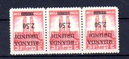 1942      Monument Roi Albert, 3x  124 Cu** Avec Surcharge Renversée, Cote 225 € - Ruanda-Urundi