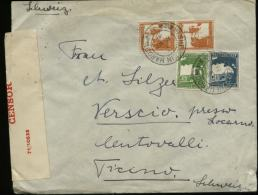 S4909 Palästina Briefumschlag Mit Zensur: Gebraucht Tel Joseph - Verscio Schweiz 1941, Bedarfserhaltung. - Palestina