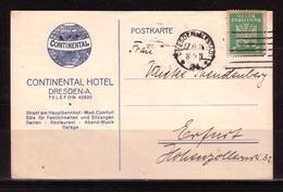 61p * DEUTSCHES REICH * CONTINENTAL HOTEL KARTE VON DRESDEN NACH ERFURT * 1924 **!! - Briefe U. Dokumente