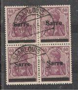 Saar1920:Michel14used Block Of 4 - 1920-35 Saargebiet – Abstimmungsgebiet