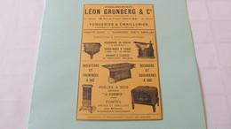 FONDERIES & EMAILLERIES - LEON GRUNBERG & Cie à RENWEZ Et à MAUBERT-FONTAINE - RECHAUDS , CUISINIERES PUBLICITE DE 1925. - Reclame