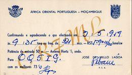 MOZAMBIQUE PORTUGAL CARTE QSL CARD CR7 1959  VERS CONGO BELGE BELGIAN CONGO OQ - Mozambique