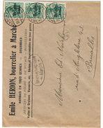 L Entête Hérion Bourrelier /Pêche .. Affr Occ N°12 X3 De MARCHE/1917 + Censure Pour Bruxelles - Oorlog 14-18