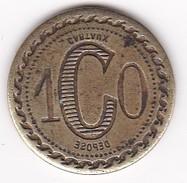 JETON 10 Centimes  à Consommer CARTAUX Déposé Marquage à L'envers , Jeu De Comptoir , Machine à Sous ,necessité  2 Scans - Monétaires / De Nécessité