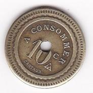 JETON 10 Centimes  à Consommer 400 Cartaux    Jeu De Comptoir , Machine à Sous ,necessité  2 Scans - Monétaires / De Nécessité
