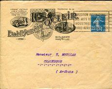 23482 France, Circuled Cover  1927 Etablissement Ocleir Marseille, Oldtimer - Auto's
