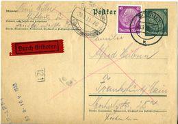 38288 - Germany / Third Reich - 1938 - Uprated 6Pfg. Hindenburg Postal Card By Express Mail From ZITTAU To FRANKFURT - Briefe U. Dokumente