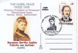 62896- BERTHA VON SUTTNER, NOBEL PEACE PRIZE, SPECIAL POSTCARD, 2005, ROMANIA - Premio Nobel