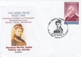 62897- BERTHA VON SUTTNER, NOBEL PEACE PRIZE, SPECIAL COVER, 2005, ROMANIA - Premio Nobel
