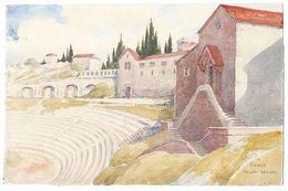 """Petite Aquarelle Sur Canson/Non Encadrée/ """"Vérone Théâtre Romain""""/Vénétie/Italie / Vers 1950 - 1960              GRAV227 - Watercolours"""