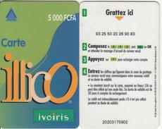 IVORY COAST - IVOIRIS Prepaid Card 5000 FCFA(small CN), Used - Ivory Coast