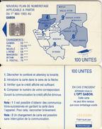 GABON - Blue Map, Third Chip Issue 100 Units(reverse A-no Moreno Logo), Chip SC7, CN :C59152981, Used - Gabon
