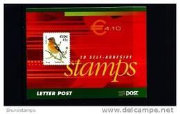 IRELAND/EIRE - 2002  € 4.10  BOOKLET  BIRDS SELF-ADHESIVE  FINE  USED  FDI CANCEL - Libretti