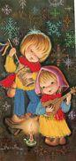 Cpa   . Carte Brodée. Deux Enfants Musiciens . Peralta. - Brodées