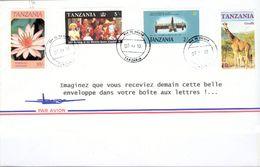 Lettre De Tanzanie  Oblitération Du 7 Décembre 2010 Timbres : Girafe Cactus Fanfare Famille Royale Anglaise - Tanzanie (1964-...)