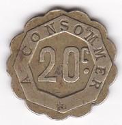 JETON 20 Centimes  à Consommer   Jeu De Comptoir , Machine à Sous ,necessité  2 Scans - Monétaires / De Nécessité