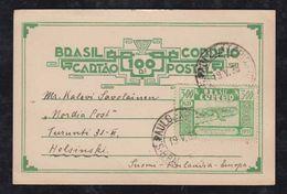 Brazil Brasil 1936 BP 146 Uprated 100R Art Deco SAO PAULO To HELSINKI Finland - Brésil