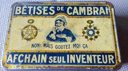BOITE ANCIENNE METAL PUBLICITAIRE - BÊTISES DE CAMBRAI AFCHAIN SEUL INVENTEUR - 15cmx5cmx5cm - Boîtes