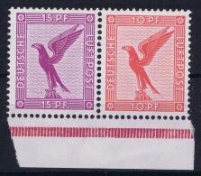 Deutsches Reich: Mi Nr A379 +379  W22 + Unterranddstück   MH/* Falz/ Charniere - Luftpost