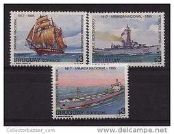 MILITARY WARSHIP SHIP BOAT VESSEL URUGUAY Sc#1595-7 MNH STAMP CV$6.00 - Uruguay