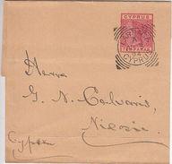 Cyprus: QV Ten Paras Newspaper Wrapper, Larnaca To Nicosia, 3 April 1894 - Chipre (...-1960)