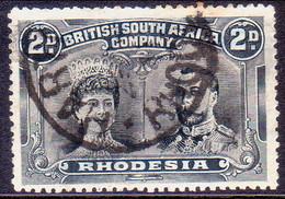 RHODESIA 1910 SG #128 2d Black And Slate-grey Perf.14 - Southern Rhodesia (...-1964)