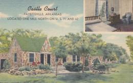 Fayetteville Arkansas, Castle Court Cottages Lodging Motel Coffee Shop, C1940s Vintage Linen Postcard - Fayetteville
