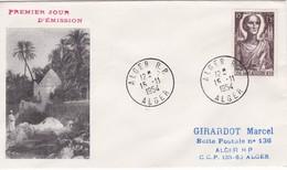 ALGERIE , FDC Enveloppe 1er Jour  : Yt 318, Obl Alger 15/11/1954 , Centenaire Naissance SAINT AUGUSTIN - Algérie (1924-1962)