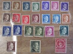 Lot De 23 Timbres Allemands Anciens Allemagne Deutscheland Deutschepost Deutschesreich Hitler Nazi Adolf - Non Classés