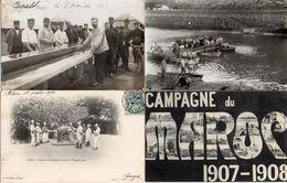 Maroc Militaire Dont 2 Cartes Photo Casablanca Lavoir, Rabat Sapeur Du Génie, Blida Leçon D'hippologie - Maniobras