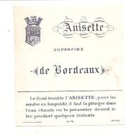 étiquette   - Anisette Surfine De Bordeaux  ---  Petits Clairs Ou Points De Colle - Whisky