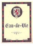 étiquette   - EAU DE VIE    Modele 318  Recto Verso (dos Explications) Pts De Colles Ou Peitis Clairs - Bordeaux