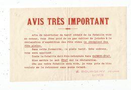 Publicité , Vins Et Spiritueux , BOURGERY Jeune , SAUMUR , Futaille Vide En Retour - Advertising