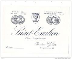 étiquette  -Saint Emilion Clos Lapelletrie Trèe Vieille étiquette - Avant 1920/30 - Bordeaux