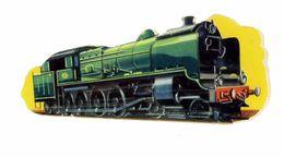 DECOUPIS CHROMO IMAGE THEME TRANSPORT TRAIN AMERICAIN CHEMIN DE FER LOCOMOTIVE A VAPEUR Long 9cm - Découpis