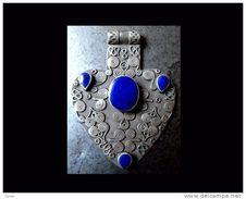 Pendant Turcmène Argent Et Lapis Lazuli / Turkmenistan Silver And Lapis Pendent - Ethniques