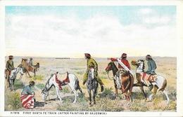 First Santa Fe Train (after Painting By Sauerwin) - Carte Fred Harvey Non Circulée - Indiens De L'Amerique Du Nord