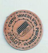 ESPAGNE - 1937 - République Espagnole - CATALOGNE - OLOT - Carto Monéda D'os Provisionas - Monnaie Carton Timbre - Espagne
