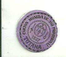 ESPAGNE - 1937 - République Espagnole - MURCIE - TOTANA- Carto Monéda De Uso Provisional Monnaie Carton Timbre - Espagne