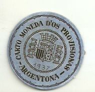 ESPAGNE - 1937 - République Espagnole - CATALOGNE - BARCELONE - Carto Monéda D'Os Provisionnas Monnaie Carton Timbre - Espagne