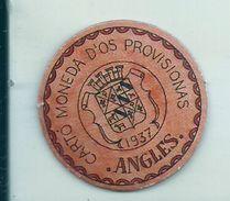 ESPAGNE - 1937 - République Espagnole CATALOGNE - ANGLES -  Carto Monéda D'Os Provisionnas Monnaie Carton Timbre - Espagne